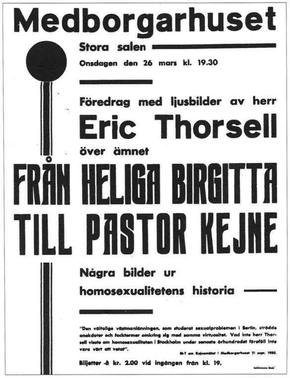 Bilden föreställer en affisch för det föredrag som Eric Thorsell höll