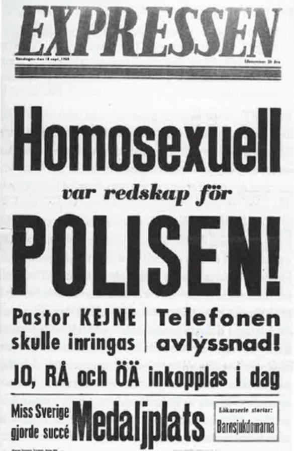 Bilden visar en löpsedel från Expressen, med texten Homosexuell var redskap för polisen.
