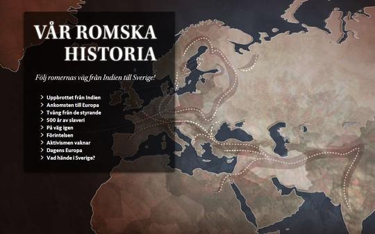 Bild på karta över Europa. Hämtad från webbplatsen Vår romska historia