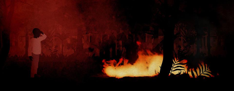 En mörk illustration på en pojke som står en bit ifrån en brinnande eld. Det ryker och det är mörkröd och svart bakgrund.