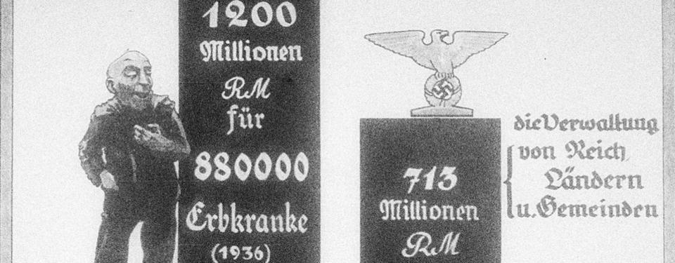 """Bilden visar en ritad nidbild av en """"sjuk"""" man med en hög stapel bredvid som ska illustrera en hög kostnad. Till höger syns en lägre stapel som ska symbolisera kostnaden för den nazityska statsförvaltningen."""