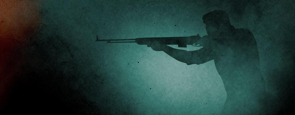 Illustration på en skugga med en man som siktar med ett gevär. Bilden är grön, vit och svart i olika nyanser.