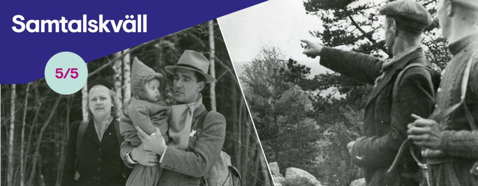 Bilden visar foton av människor från 40-talet som passerat gränsen mellan norge och SVerige.
