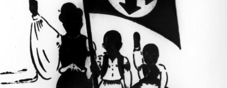 Bilden visar en illustration av tre persioner som håller i en flagga och höjer sina högerarmar.