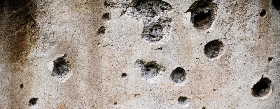 Bilden visar en sönderskjuten vägg.