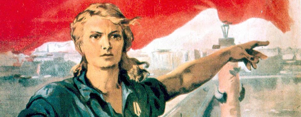 Bilden visar en tecknad bild på yngre kvinna med usträckt vänsterarm och pekande finger.