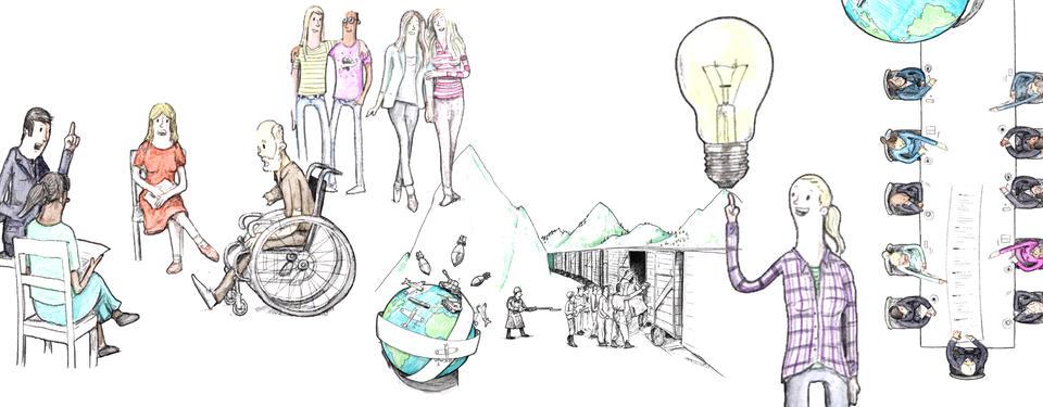 Bilden visar ritade människor, som ska illustrera mänskliga rättigheter.