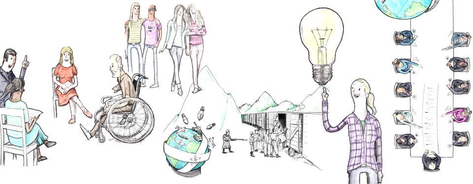 Bilden visar ritade människor, som ska illustrera våra mänskliga rättigheter.