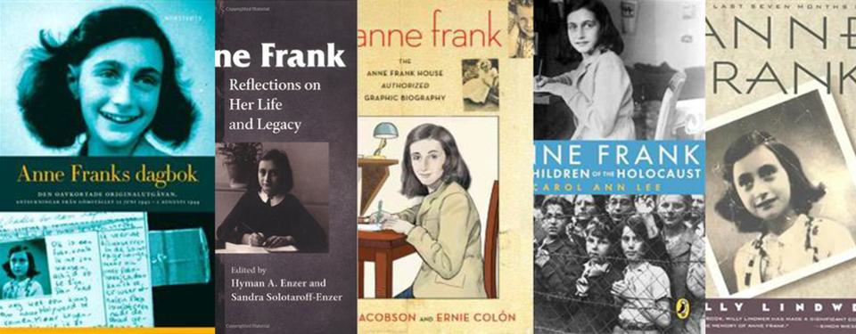 Bilden visar 5 omslag för Anne Frank böcker med olika porträtt av en ung Anne FRank.