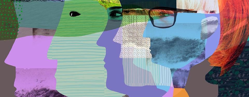 En illustration som visar ansikten i olika färger.