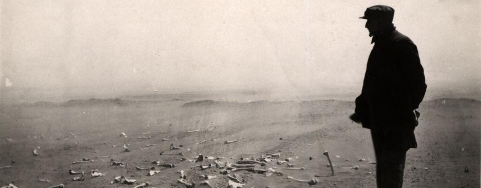 Bilden visar man som blickar ut över vidsträckt sandlandskap med benrester på marken.