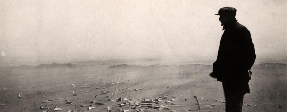 Bilden visar en man blickandes ut över sandlandskap täckt med skelettdelar.