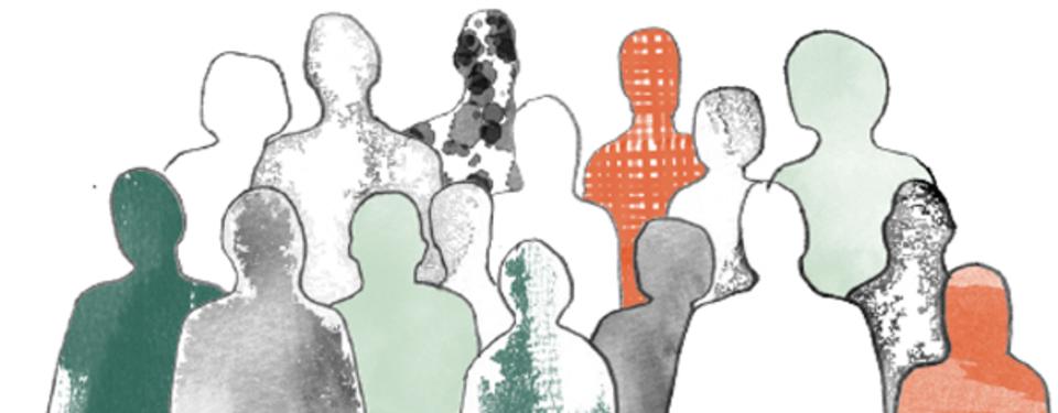 Bilden visar en illustration av figurer som står i en grupp
