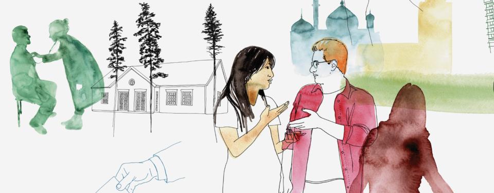 Illustration med två personer som samtalar