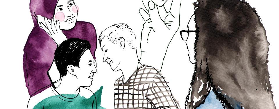 Bilden visar en illustration på elever och en lärare.