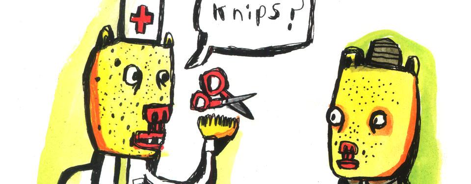 Illustration av tecknad figur med vit hatt med rött kors på, omgärdad av stor sax och pratbubbla med ordet knips och en annan tecknad figur.