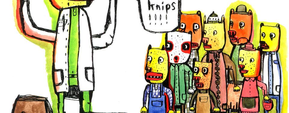 Illustration av åtta tecknade figurer ståendes tillsammans.