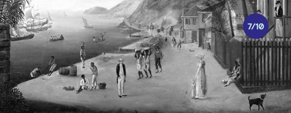 Bilden visar ett hamnmotiv från Gustavia på S:t Barthelemy. Centralt i bild ses två slavar med fotbojor.