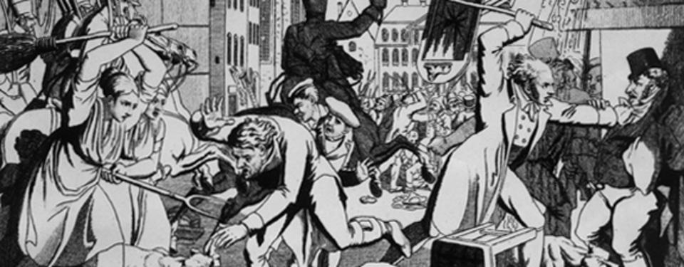 Tecknad illustration på tumult där människor använder tillhyggen för att skada varandra.