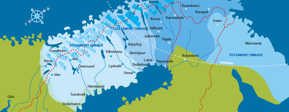 Kartan visar en karta över Sapmi som sträcker sig över norra Norge, Sverige, Finland och Ryssland