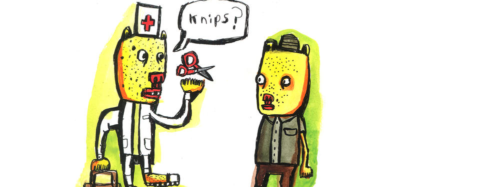 En illustration av två personer där den ena är klädd som en läkare och säger knips med en sax i handen.
