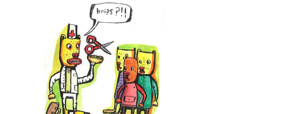 Illustration av tre tecknade figurer tätt ihop och en större tecknad figur med vit mössa med rött kors, vit rock och en sax.