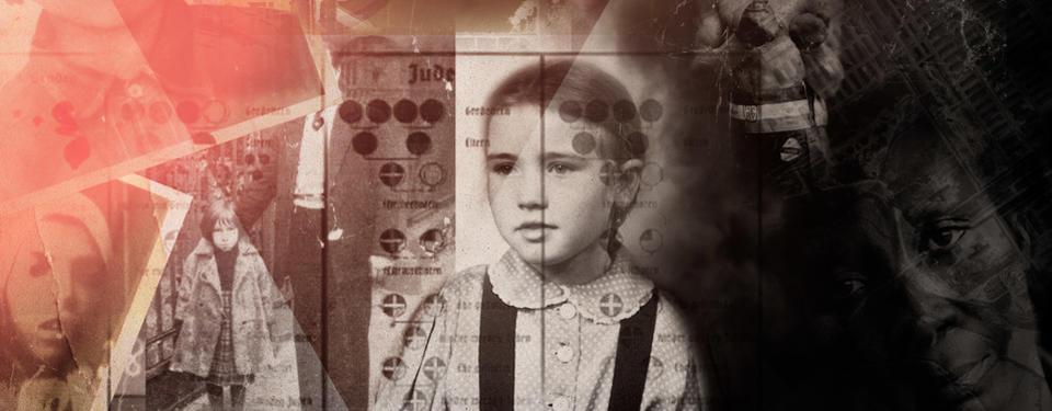 En kollagebild med svartvita fotografier