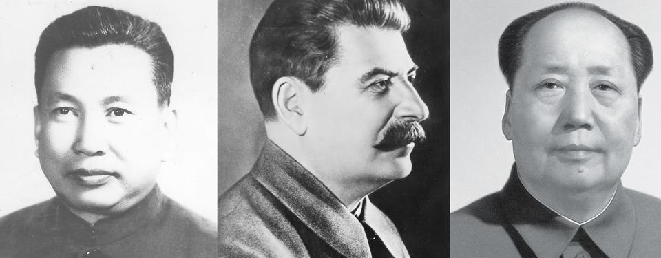 Tre porträttbilder i svartvitt av Mao, Stalin och Pol Pot.