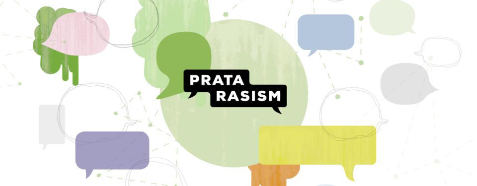 Bilden visar pratbubblor i olika färger, i mitten står det Prata rasism.