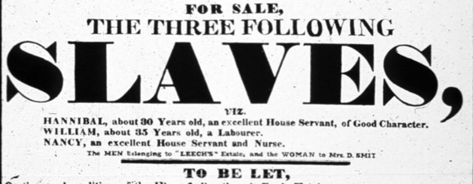 Bilden visar en affisch för försäljning av tre personer, Hannibal, William och Nancy.