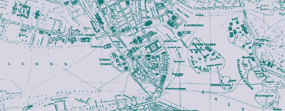 Bilden visar en karta över gamla stan i Stocholm.