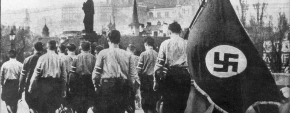 Bilden visar ryggarna på ett tiotal yngre män i nazistuniform, varav en person bär på en fana med en svastika på.