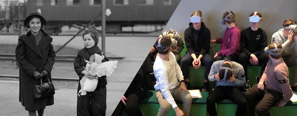 Bilden visar en svartvit bild med två flickor på en tågstation och en bild på elever med VR-glasögon på sig.