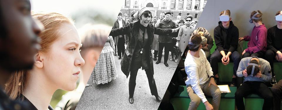Bilden visar ungdomar, en historisk bild med en kvinna som protesterar Katarina Taikon, samt en bild på elever med VR-glasögon.