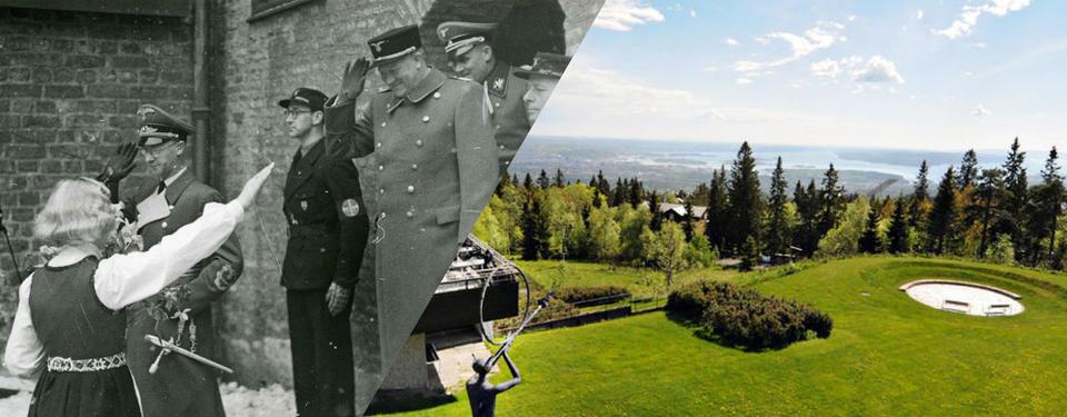 Bilden visar en kvinna som gör hitlerhälsning mot en man, den andra bilden visar en vacker utskilt över berg.
