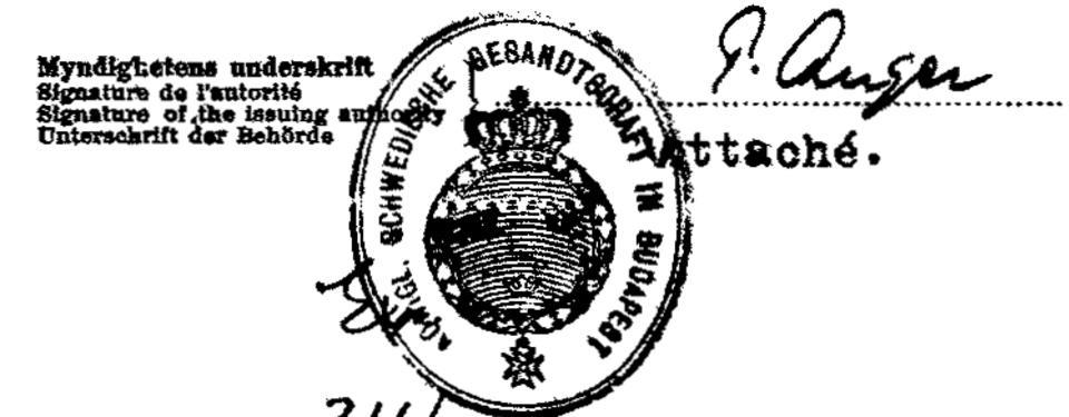 Bilden visar en stämpel och en underskrift.