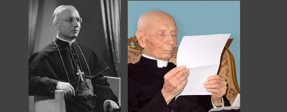 Bilden vsar två foton, ett på en yngre man, ett på en äldre som läser ett dokument.